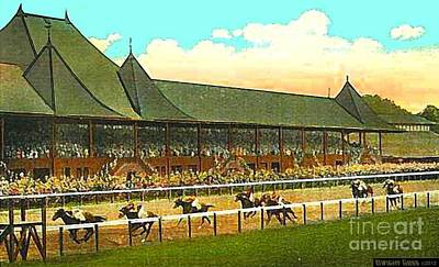 Painting - Grandstand And Horses At Saratoga In 1920 by Dwight Goss