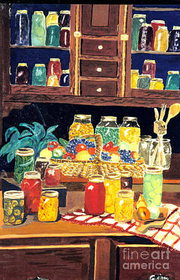 Canned Fruit Painting - Granny's Cupboard by Julie Brugh Riffey
