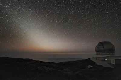 Grantecan Telescope And Zodiacal Light Art Print by Alex Cherney, Terrastro.com