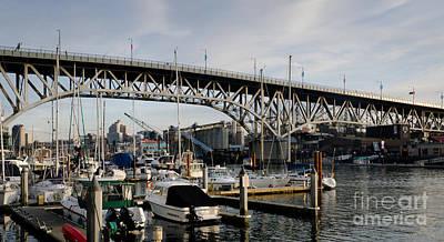 Granville Island Photograph - Granville Bridge Vancouver To Granville Island Bc Canada by Andy Smy