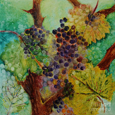 Painting - Grapes And Leaves V by Karen Fleschler