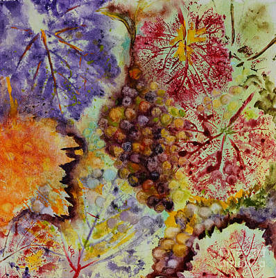 Painting - Grapes And Leaves Viii by Karen Fleschler
