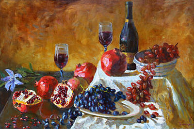 Grape Wall Art - Painting - Grapes And Pomgranates by Ylli Haruni