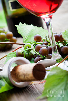Photograph - Grapes And Red Wine by Kati Finell