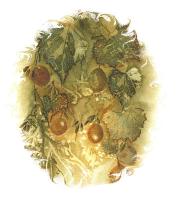 Grapeleaves Painting - Grapes Green Gold Vignette by Elise Boam