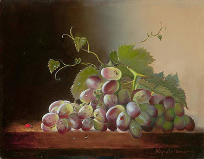 Grapes With  A Ladybug Original by Larisa Napoletano