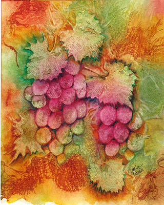 Painting - Grapes With Rust Background by Carla Parris
