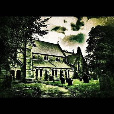 Horror Wall Art - Photograph - Graveyard #haunted #horror #church by Chris Barber