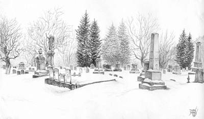 Drawing - Graveyard In The Snow by Dan Moran