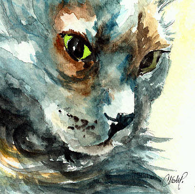 Painting - Gray Long Haired Cat by Christy  Freeman
