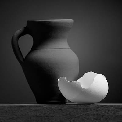 Photograph - Gray Variations - Cups by Ovidiu Bastea