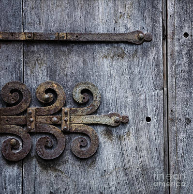 Print featuring the photograph Gray Wooden Doors With Ornamental Hinge by Agnieszka Kubica
