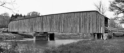 Photograph - Grays River Covered Bridge Black And White by Ansel Price
