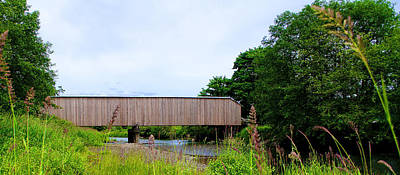 Photograph - Grays River Covered Bridge Panorama by Ansel Price