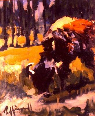 Painting - Grazing Buffalo by Les Leffingwell