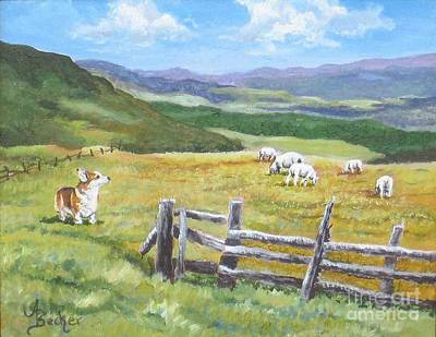Painting - Grazing On Golden Fields by Ann Becker