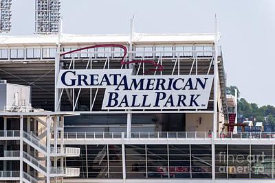 Great American Ball Park Sign In Cincinnati Art Print by Paul Velgos