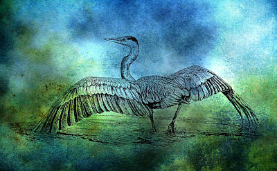 Great Blue Heron Color Wash Art Print