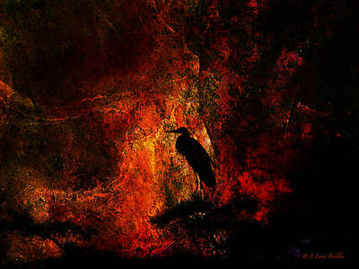 Digital Art - Great Blue Heron Looking At The Sunrise by J Larry Walker