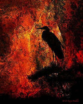 J Larry Walker Digital Art Photograph - Great Blue Heron Sitting High by J Larry Walker
