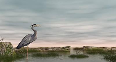 Digital Art - Great Blue Heron by Walter Colvin
