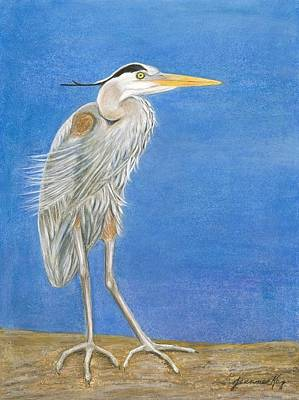 Painting - Great Blue Heron Windy Day by Jeanne Kay Juhos
