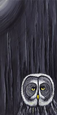 Painting - Great Gray Owl by David Junod