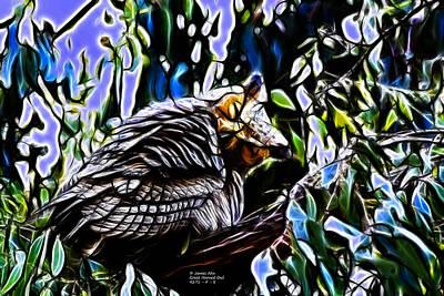 Digital Art - Great Horned Owl - 4271 - Fractal S by James Ahn