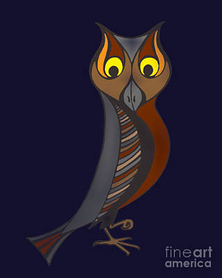 Digital Art - Great Horned Owl At Midnight by Alycia Christine