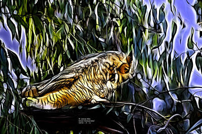 Digital Art - Great Horned Owl - Fractal - S -4398 by James Ahn