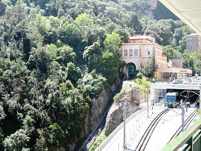 Photograph - Great Montserrat Tram Railway Station Up On The Mountain In Spain by John Shiron