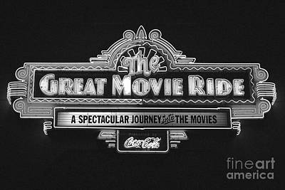 Photograph - Great Movie Ride Neon Sign Hollywood Studios Walt Disney World Prints Black And White Film Grain by Shawn O'Brien