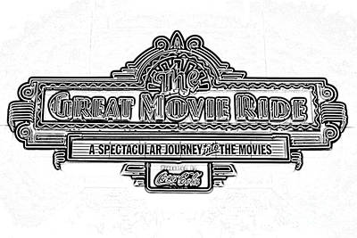 Digital Art - Great Movie Ride Neon Sign Hollywood Studios Walt Disney World Prints Black And White Photocopy by Shawn O'Brien