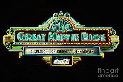 Digital Art - Great Movie Ride Neon Sign Hollywood Studios Walt Disney World Prints Glowing Edges by Shawn O'Brien
