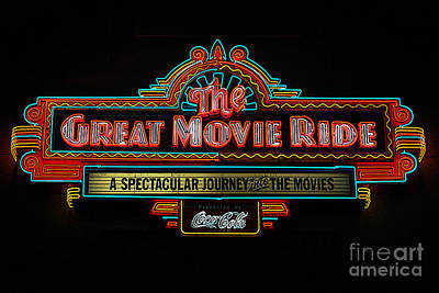 Great Movie Ride Neon Sign Hollywood Studios Walt Disney World Prints Poster Edges Art Print