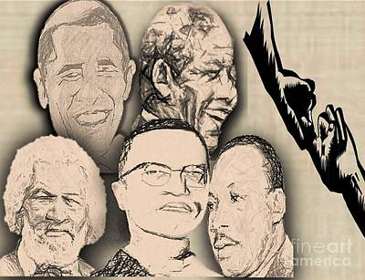 Barrack Obama Digital Art - Great Powerful African American Men by Belinda Threeths