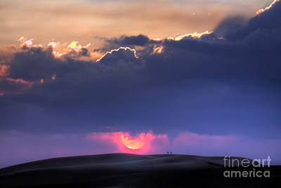Great Sand Dunes Sunset With Lovers Walking Art Print
