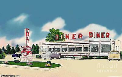 Painting - Greatway Diner In Cardiff N J 1950's by Dwight Goss