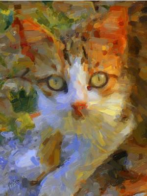 Briex Digital Art - Greek Cat by Nop Briex