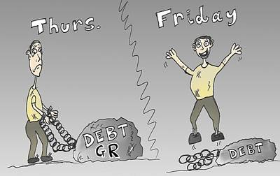 Financial Mixed Media - Greek Debt Cartoon by OptionsClick BlogArt