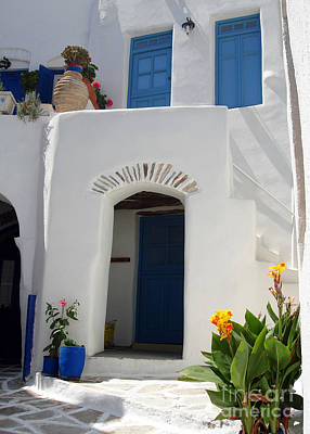 Flowerpots Photograph - Greek Doorway by Jane Rix