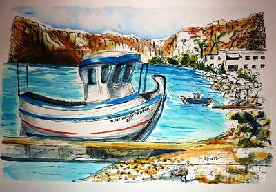 Art Print featuring the painting Greek Fishing Boat by Therese Alcorn