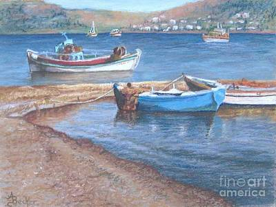 Pastel - Greek Fishing Boats by Ann Becker