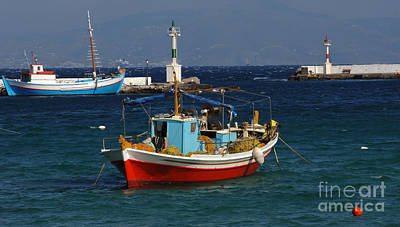 Photograph - Greek Fishing Boats Mykonos by Bob Christopher