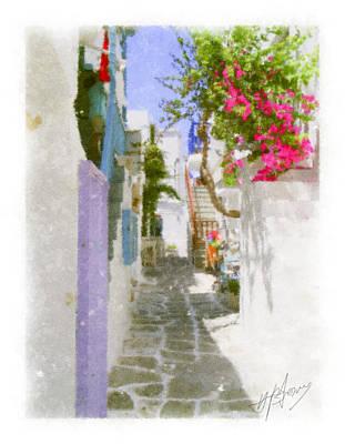 Greek Island Streetscene Print by Pavlos Vlachos