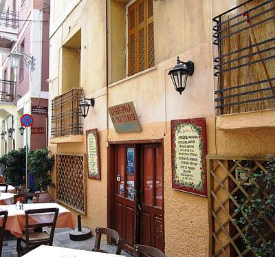 Photograph - Greek Restaurant Cafe Entrance And Menu In Nafplion Greece by John Shiron