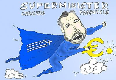 Economy Mixed Media - Greek Superminister Papoutsis by OptionsClick BlogArt