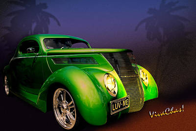 Green 37 Ford Hot Rod Decked Out For A Tropical Saint Patrick Day In South Texas Art Print by Chas Sinklier