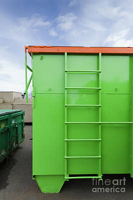 Green And Orange Garbage Container Art Print by Don Mason