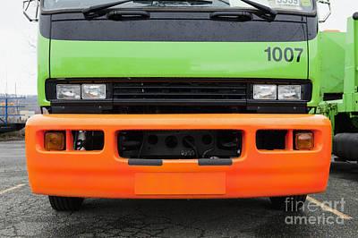 Green And Orange Garbage Truck Art Print by Don Mason